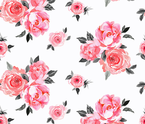 bright rose on white fabric by crystal_walen on Spoonflower - custom fabric
