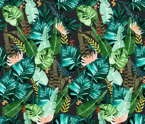tropical dark fabric by crystal_walen on Spoonflower - custom fabric