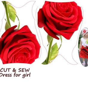 Red rose. Сhild dress.