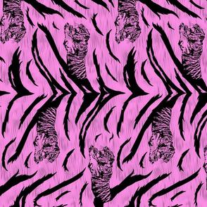 Tribal Tiger stripes print - vertical bubblegum pink medium