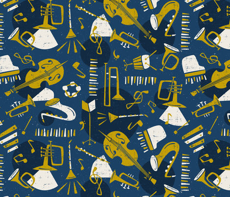 Jazz Band - Blue & Gold fabric by heatherdutton on Spoonflower - custom fabric