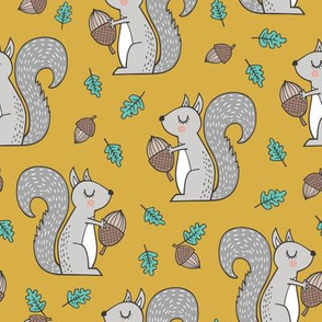 Forest Squirrel Squirrels with Leaves &  Acorn Autumn Fall on Mustard Yellow