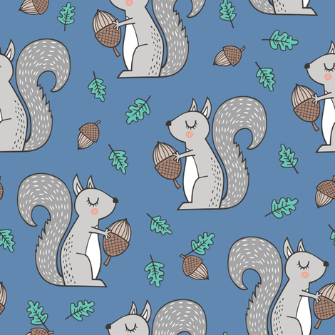 Forest Squirrel Squirrels with Leaves &  Acorn Autumn Fall on Dark Blue Navy fabric by caja_design on Spoonflower - custom fabric