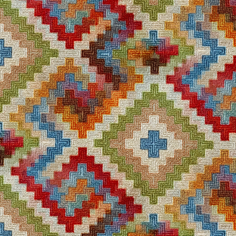 kilim rug design, large scale, beige red green blue orange fabric by amy_g on Spoonflower - custom fabric