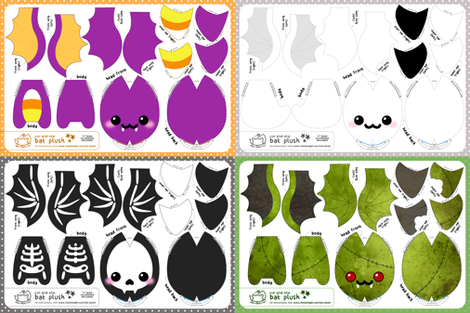 Cut & Sew Bat Plush Bundle Halloween fabric by sewdesune on Spoonflower - custom fabric