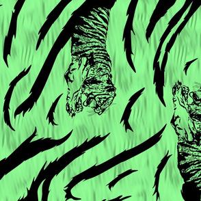 Tribal Tiger stripes print - vertical jungle green large