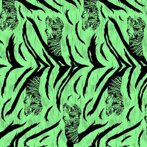 Tribal Tiger stripes print - vertical jungle green medium