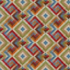 kilim rug design, small scale, beige red green blue orange