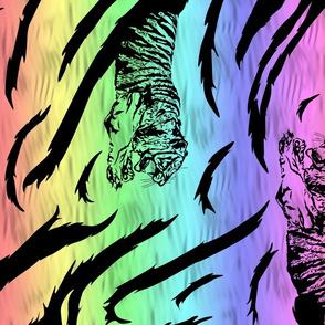 Tribal Tiger stripes print - vertical neon rainbow large