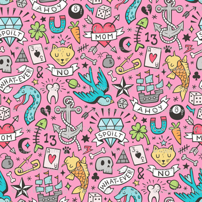 Tattoo Doodle on Dark Pink