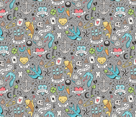 Tattoo Doodle Blue on Grey fabric by caja_design on Spoonflower - custom fabric