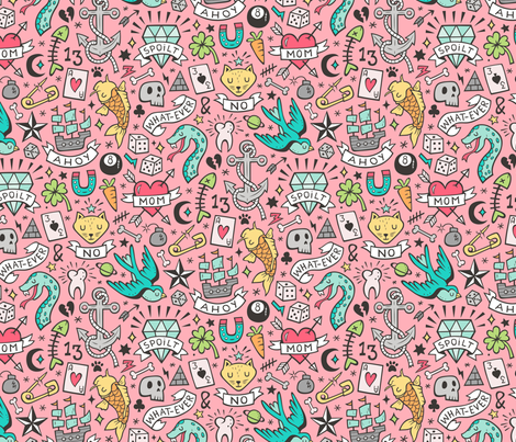 Tattoo Doodle on Pink fabric by caja_design on Spoonflower - custom fabric