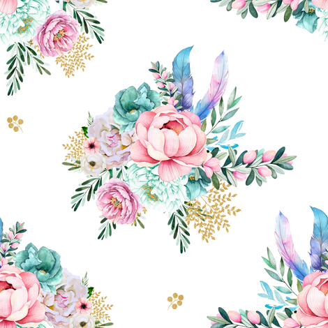 "8"" Aqua Mermaid Florals fabric by shopcabin on Spoonflower - custom fabric"