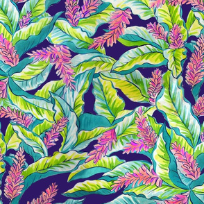pink ginger blossoms -on navy