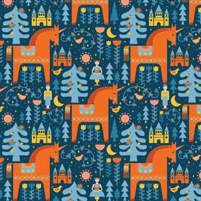 Unicorns in Blue + Orange