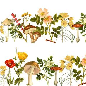 Vintage Flowers and Mushrooms