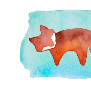 "Watercolor Fox Blanket - 54"" x 36"""
