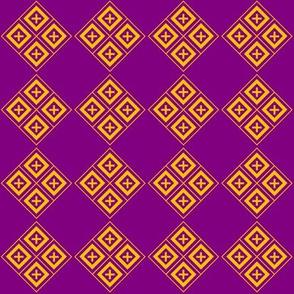 Diamond Crosses Gold on Purple Grid