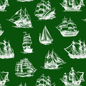 Sailing Ships on Green // Small