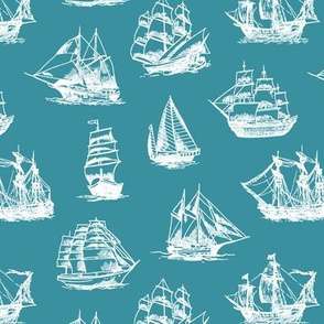 Sailing Ships on Teal // Small