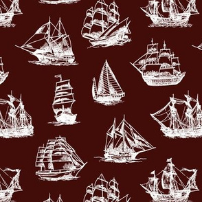 Sailing Ships on Mahogany // Small