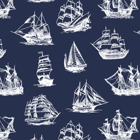 Sailing Ships on Navy // Small fabric by thinlinetextiles on Spoonflower - custom fabric