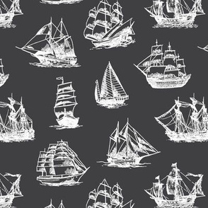 Sailing Ships on Charcoal // Small