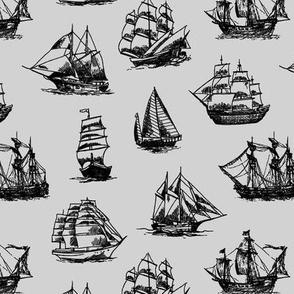 Sailing Ships on Grey // Small