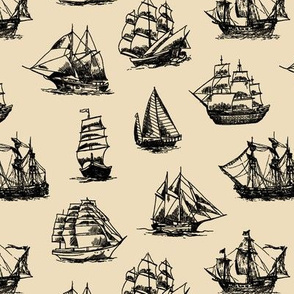 Sailing Ships on Tan // Small