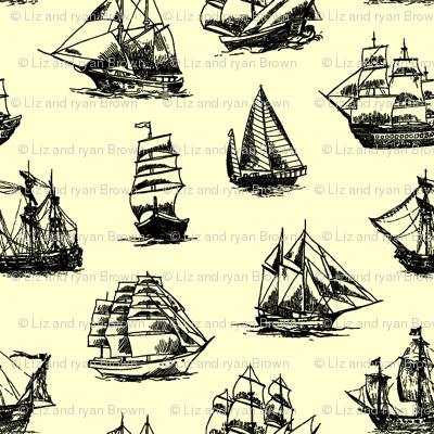 Sailing Ships on Yellow // Small
