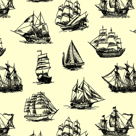 Sailing Ships on Yellow // Small fabric by thinlinetextiles on Spoonflower - custom fabric