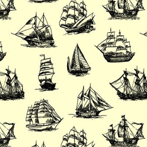 Sailing Ships on Yellow // Small