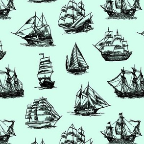 Sailing Ships on Light Green // Small