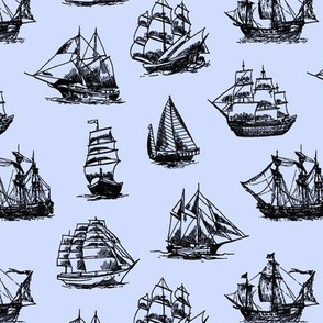 Sailing Ships on Blue // Small