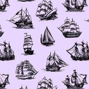 Sailing Ships on Lavender // Small