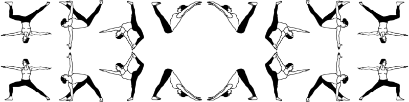 Yoga Poses In Black White Small Fabric