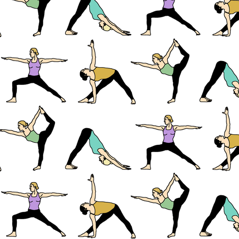 Yoga Girls // Small fabric by thinlinetextiles on Spoonflower - custom fabric