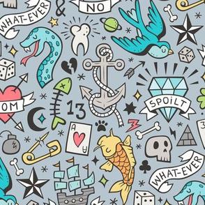 Tattoo Doodle on Blue