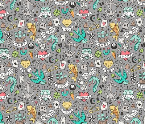Tattoo Doodle on Grey fabric by caja_design on Spoonflower - custom fabric