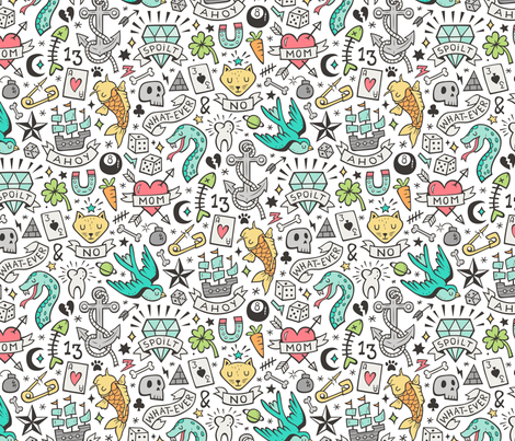 Tattoo Doodle on White fabric by caja_design on Spoonflower - custom fabric