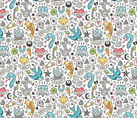 Tattoo Doodle on Blue on White fabric by caja_design on Spoonflower - custom fabric