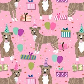 pitbull birthday fabric - light brindle pitty cute dogs birthday design - pink