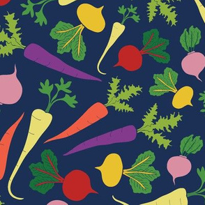 Root Veggie Medley - blue background