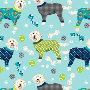 golden doodle in jammies fabric  - pjs, pajamas, pyjamas - blue