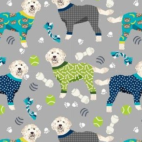 golden doodle in jammies fabric  - pjs, pajamas, pyjamas - grey