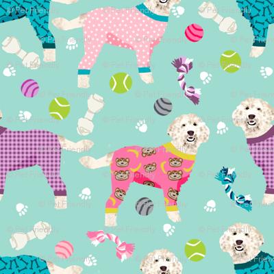 golden doodle in jammies fabric  - pjs, pajamas, pyjamas - mint/pink