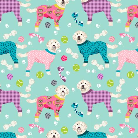 golden doodle in jammies fabric  - pjs, pajamas, pyjamas - mint/pink fabric by petfriendly on Spoonflower - custom fabric