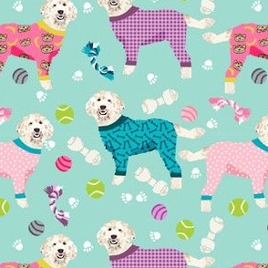 golden doodle in jammies fabric  - pjs, pajamas, pyjamas - mint/pink