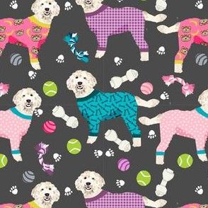 golden doodle in jammies fabric  - pjs, pajamas, pyjamas - charcoal