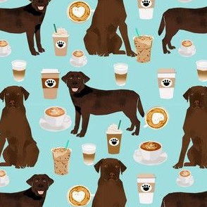 Labrador fabric - chocolate labradors and coffee fabric - light blue